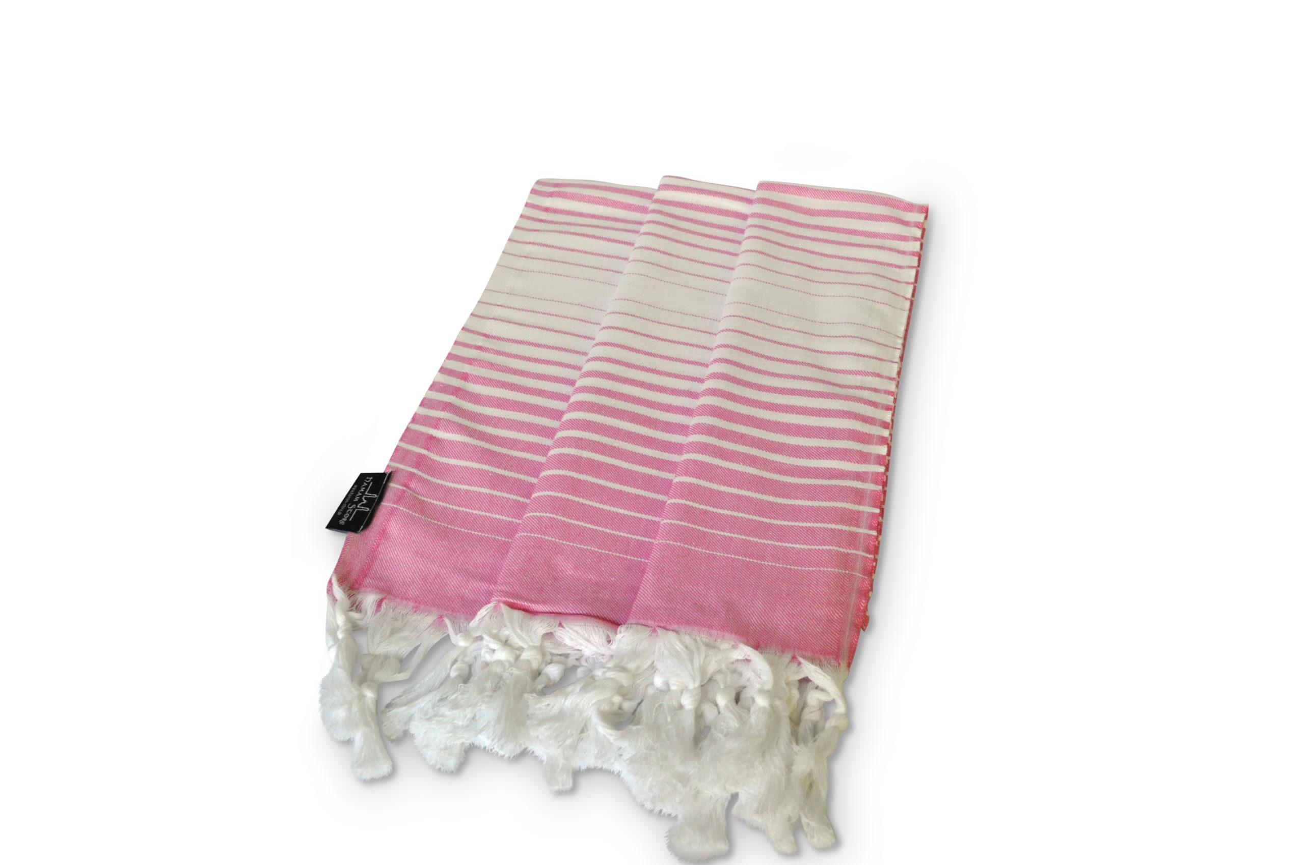 Feines Hamamtuch pink-weiß