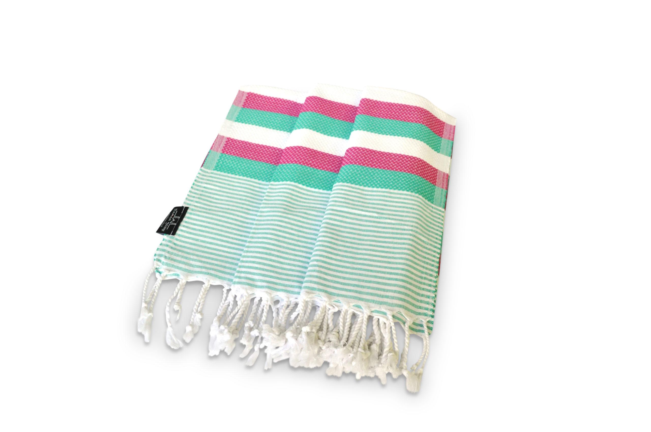 Gestreiftes Hamamtuch pink-grün-weiß