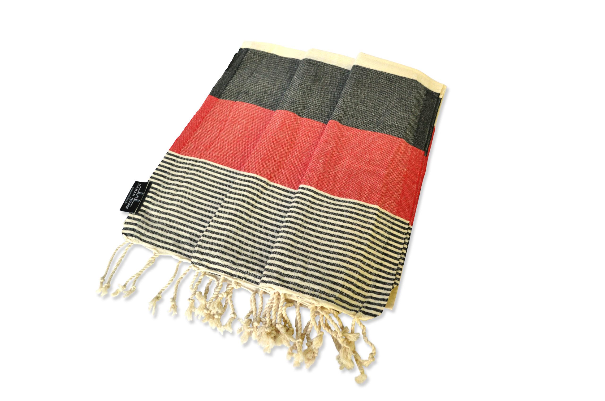 Hamamtuch schwarz-rot